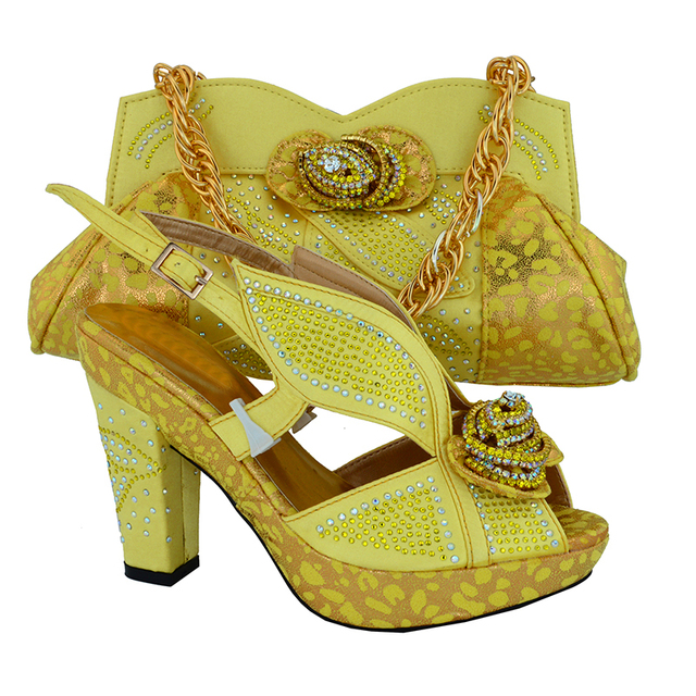 Italy Design African Women High Heel Shoes Matching Bags For Big Wedding Party MM1016 Yellow
