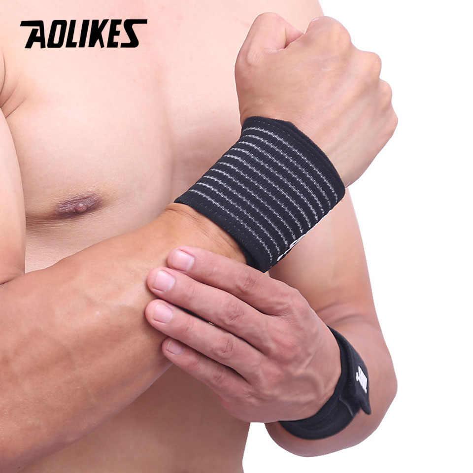 をaolikes 1 個綿弾性包帯ハンドスポーツリストバンドジムサポート手首ブレースラップ手根管