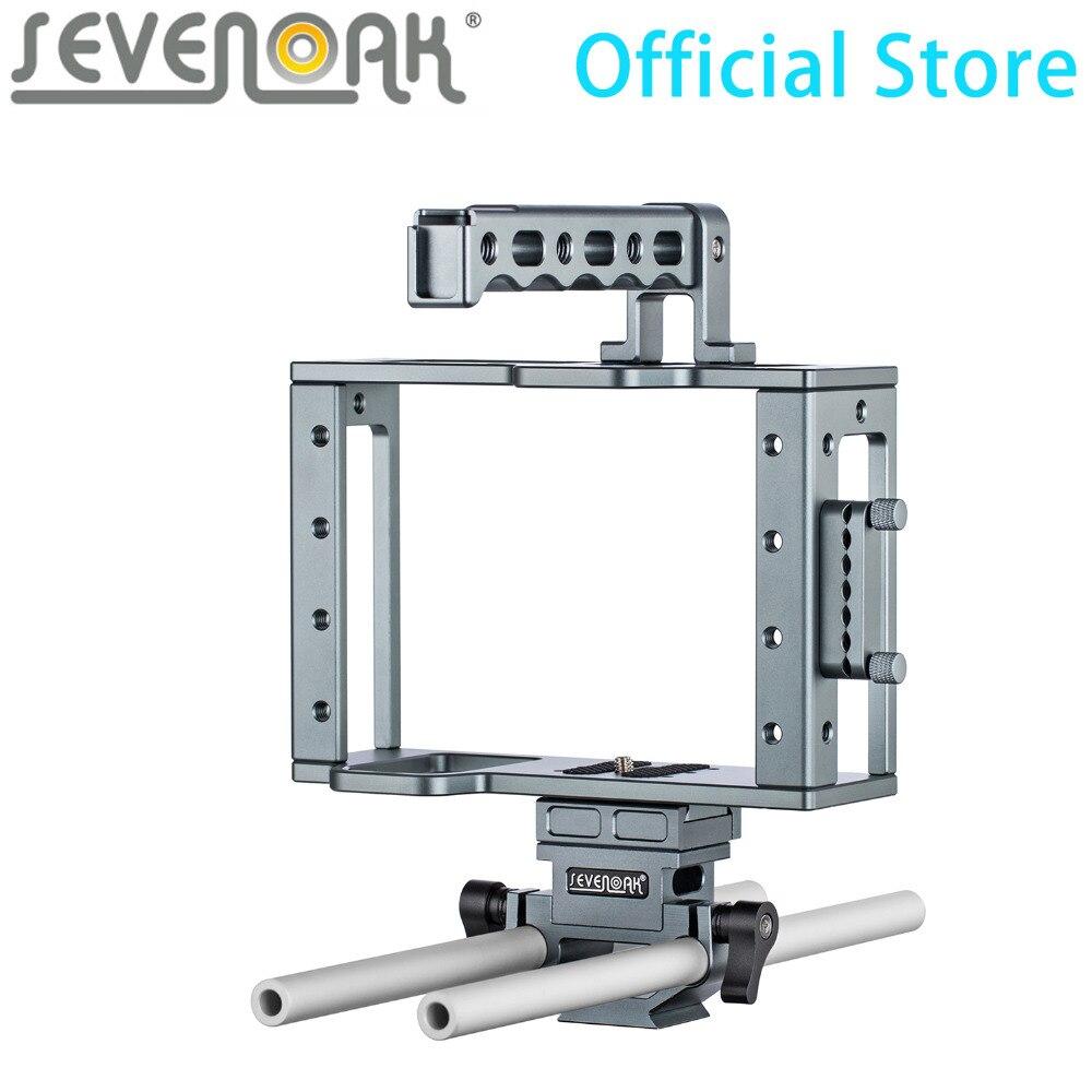 Cage de caméra en aluminium Sevenoak avec poignée supérieure, adaptateur HDMI et système de Rail de 15mm, Base à dégagement rapide pour caméscopes DLSR