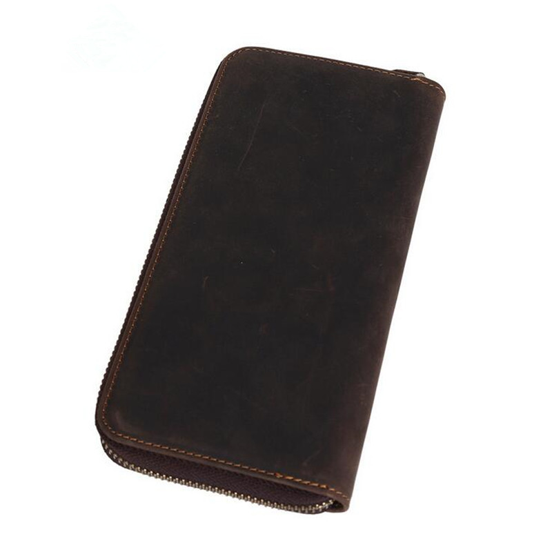 New retro crazy horse leather men's leather wallet long section clutch wallet zipper clutch bag hot free shipping