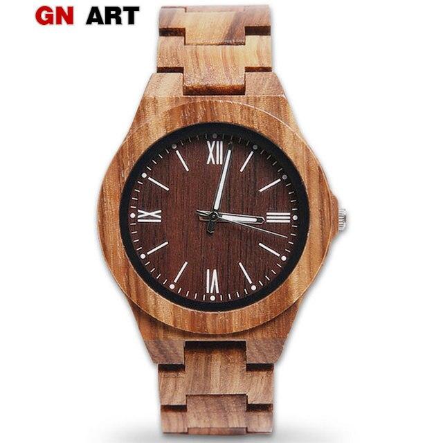 GNART mens wood watch clock relogio masculino de luxo montre homme men wooden wa
