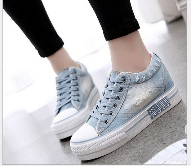 Women Shoes lace up casual canvas shoes women platform spring summer women denim shoes H9177