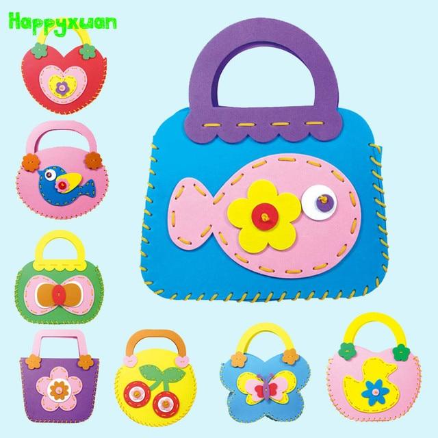 Kids Arts And Crafts Kits Part - 19: 4pcs-lot Make Cute Handbags EVA Foam Stickers Kids DIY Art Craft Kits Bags  Girl