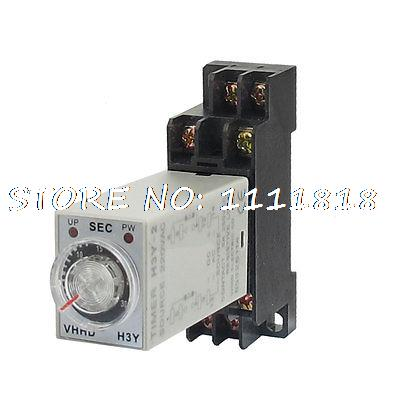AC 220V 8 Pins DPDT 0-30S Timer Delay DIN Rail Time Relay H3Y-2 w Socket цена и фото