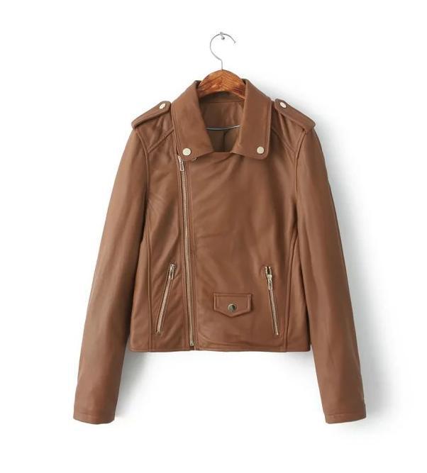 Spike khaki street autumn classic slim fit womens faux leather jackets splice PU short coats clothing