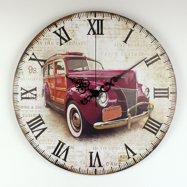 Retro Car Wall Decoration Watch Warranty 3 Years Vintage Home Decor Silent Clock Roman