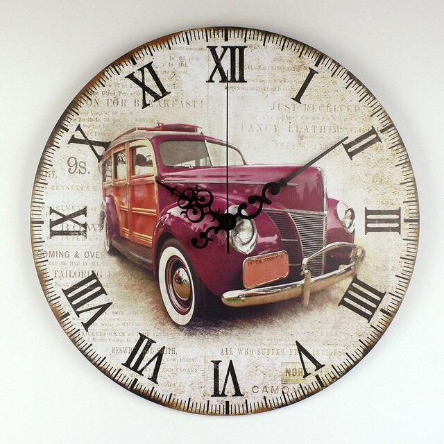 Retro Car Wall Decoration Watch Warranty 3 Years Vintage Home Decor ...
