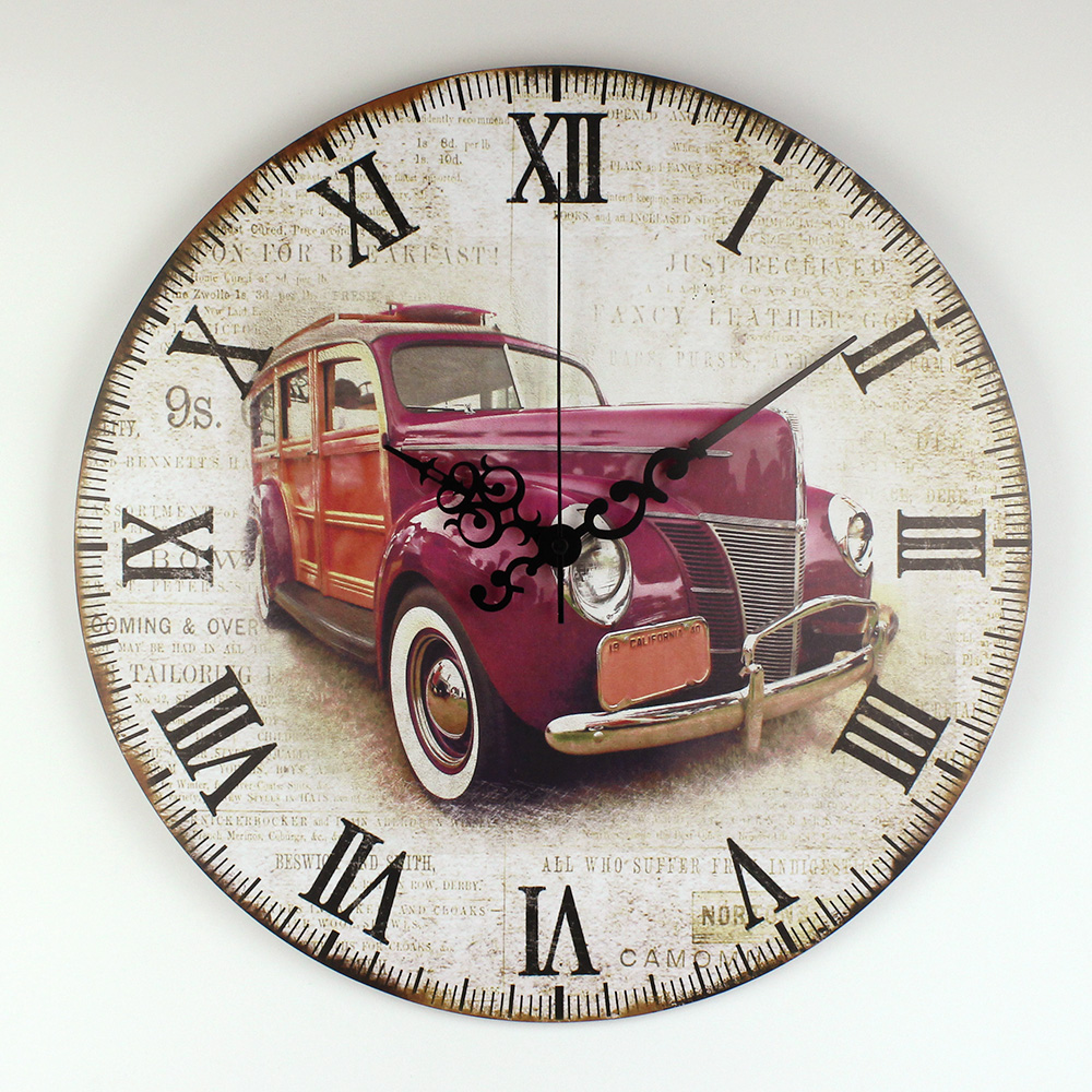 Retro Car Wall Decoration Watch Warranty 3 Years Vintage Home Decor Big Silent Wall Clock Roman Number For Bedroom Decor Gift