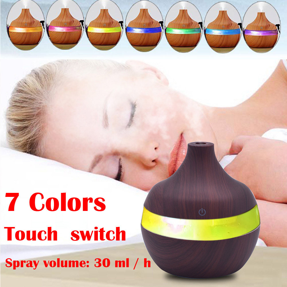 Reed Diffuser Sets Humidify 2018 New ABS 300ml Ultrasonic Humidifier Purifier LED Essential Oil Diffuser 7 Color Changing Nov14 aroma diffuser 130ml