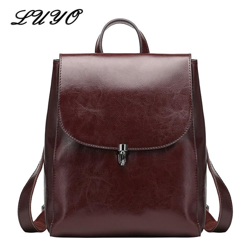 все цены на LUYO Genuine Leather Backpacks Ladies Casual Vintage Cowhide Travel Feminine Backpack Oil Wax Backpack Women Girl Bags Mochilas онлайн