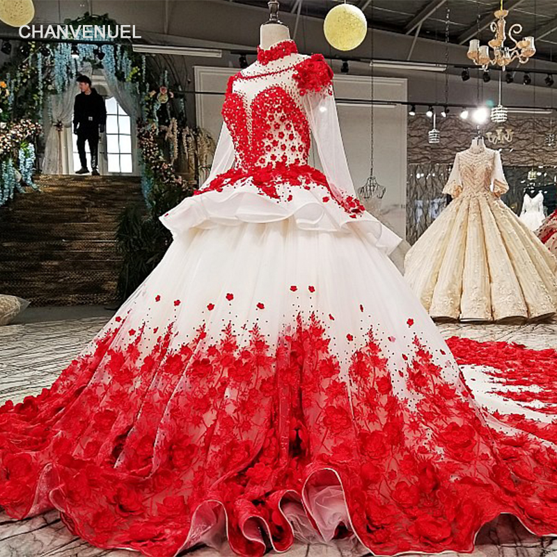 LS15474 red patterns of lace   evening     dress   popular fashion A-line high neck latest designer party wear formal   evening   gown 2018