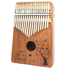 Portable B - 17T 17 Keys Kalimba Thumb Piano Mahogany Body Musical Instrument Solid Wood Kalimba Mbira Thumb Paino