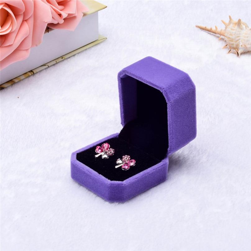 Fashion Velvet Engagement Wedding Earring Ring Pendant Jewelry Display Box Gift ring box Storage Boxes #3F12 (21)