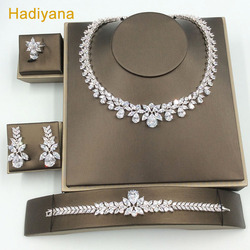 Hadiyana Luxury Bridal Wedding Jewelry Sets For Women New Sparkling AAA Zircon Paved Hotsale Pendientes 4pcs Set jewellery CN184