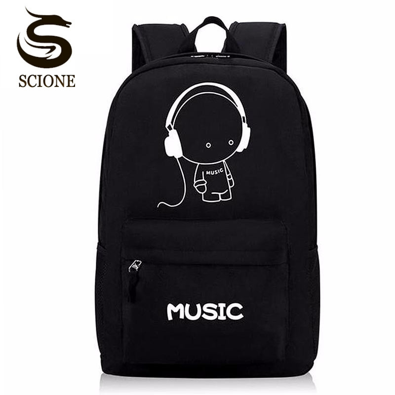 Scione Luminous Backpacks Men Canvas Backpack Cartoon Printing School Bags for Teenage Girls Women Students Bag Mochila Escolar high quality anime death note luminous printing backpack mochila canvas school women bags fashion backpacks for teenage girls