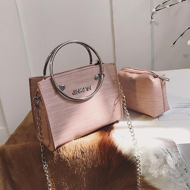 2 Bag 2018 Fashion New Women Handbags High-quality PU Leather Tote Handbag High Quality Women's Handbags Ring Chain Shoulder Bag