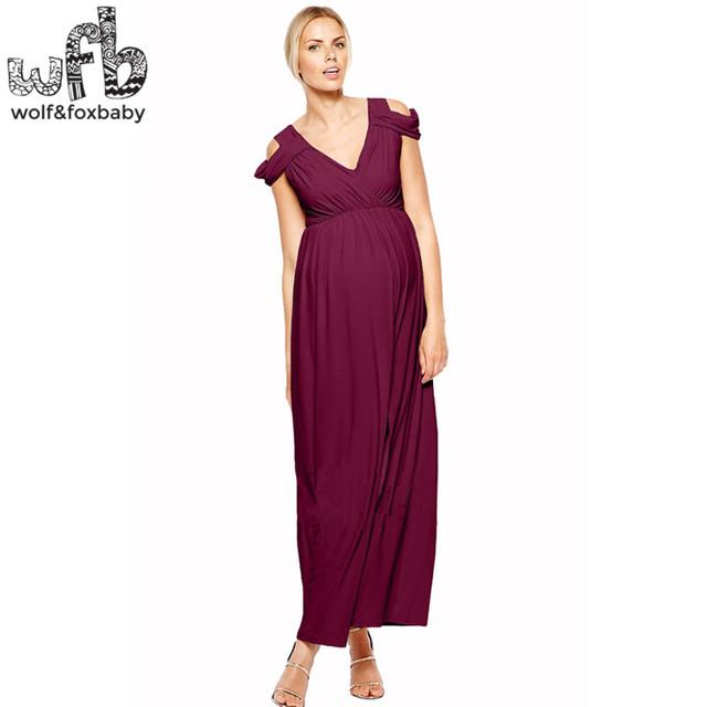 Mulheres grávidas tamanho grande dress cor sólida sem mangas de varejo-cintura alta com decote em v primavera verão outono queda de vinho