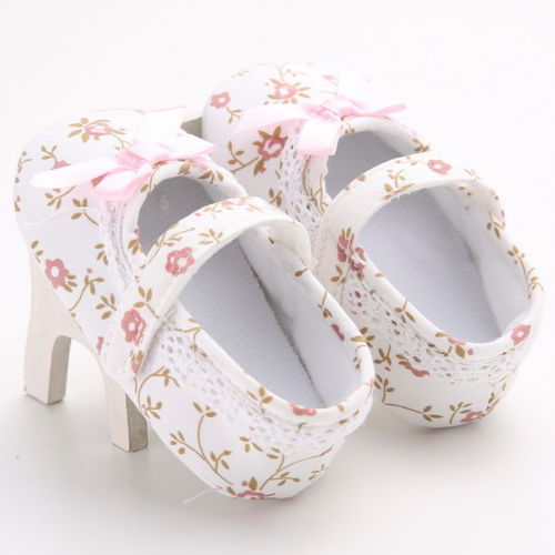 Cute Floral Printed Baby Girls Princess Shoes White Bowknot Crib Shoes Soft Sole Anti-sl ...