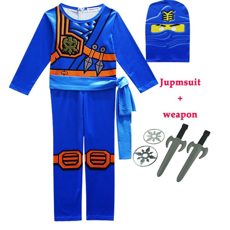 Traje de Ninja Ninjago para niños, conjuntos de ropa para niñas, juego de ropa para fiesta de Halloween con arma
