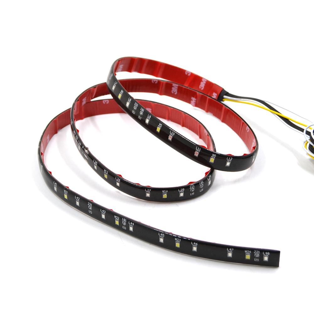 BJMOTO 49 Flexible LED Car Truck Tailgate Light Bar Red and White 12V 72LED Running/Brake/Reverse/Signal/Rear Strip Light Lamp