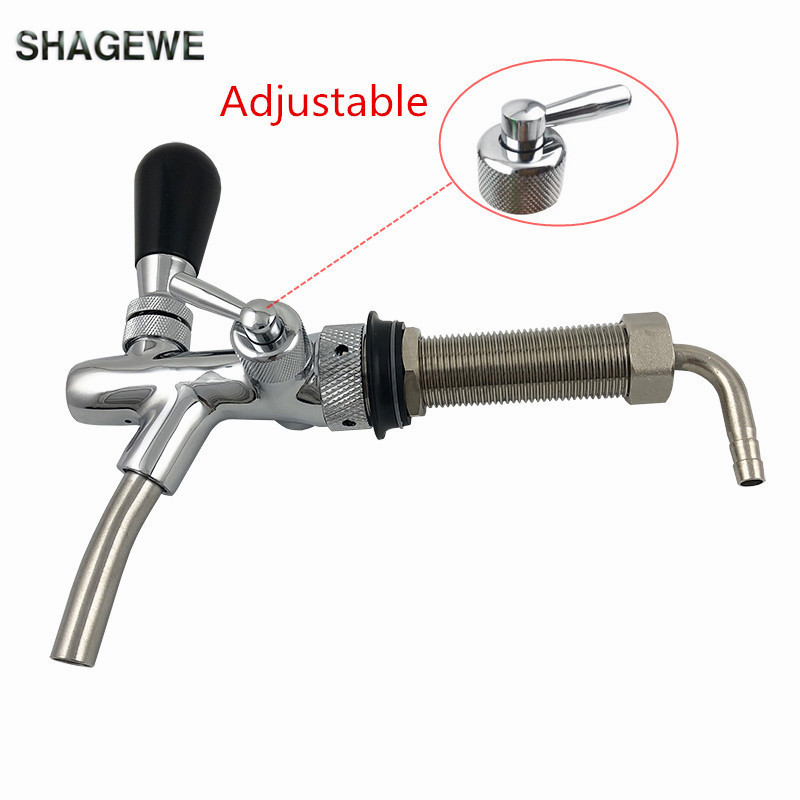 Adjustable Draft Beer Faucet Chrome Plating Flow Control Tap with 4 inch Shank Home Brewing Homebrew Kegerator Draft Beer Tap