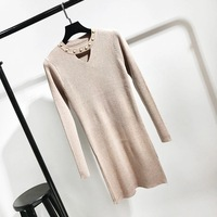 Fashion New Round Lead Nail Bead Hollow Long Model Sweater Women