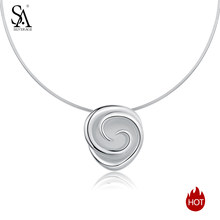 SA SILVERAGE 925 Silver Pendant Statement Necklaces Fine Jewelry New 925 Sterling Silver Rose Chokers Necklaces for Women Flower(China)
