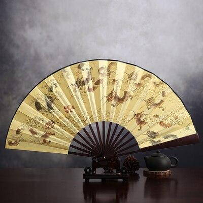 """1"""" украшенный Шелковый складной Ручной Веер человек большой бамбуковый китайский Печатный веер из ткани традиционное ремесло свадебные сувениры веер - Цвет: 9 dragon"""