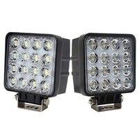 2Pcs 48W LED Work Light Lamp Square Spot Flood Beam 12v 24v LED Bar 4x4 Offroad
