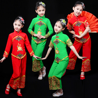 Child Green Red Modern Chinese Folk Dance Costume Kids Fan Umbrella Yangko Dance Wear Stage Performance Ooriental Costume