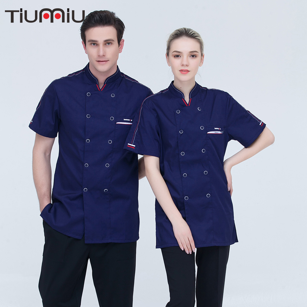 New High Quality Wholesale Unisex Short-sleeves Double Breasted Kitchen Restaurant Canteen Cook Wear Chef Jacket Bakery Uniforms