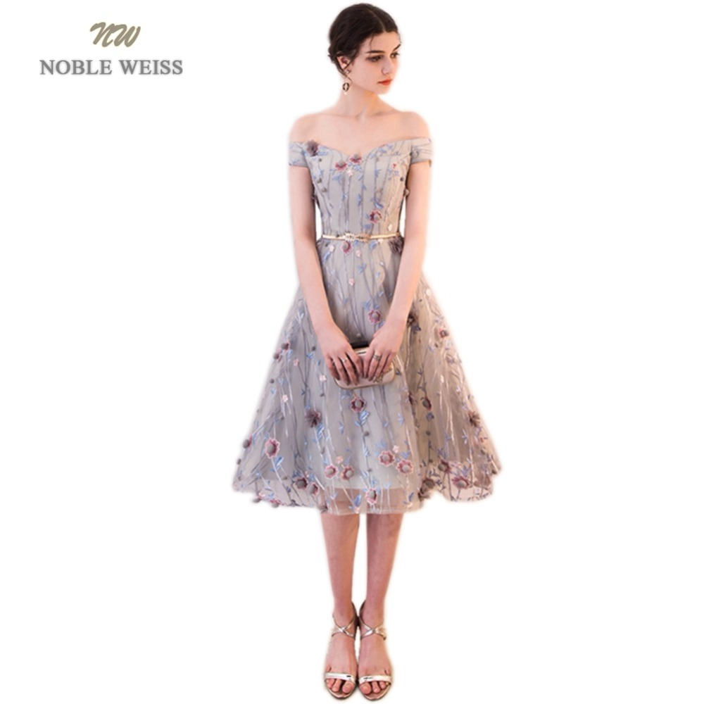 NOBLE WEISS Hot Sale Lace Knee-Length Prom Dresses Floower Robe De Soiree A-Line In Stock Prom Dress