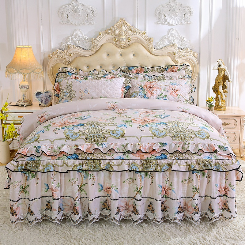 Korean Style Tencel Bed Linen Lace Ruffle Bedding Floral Pastoral Duvet Cover Pillowcases Bedspreads 1/2/4pcs Sets