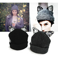 2016Brand Bonnet Beanies Knitted Winter Hat Caps Skullies Winter Hats With Lace and cat ear For Women Beanie Outdoor Cap Gorros