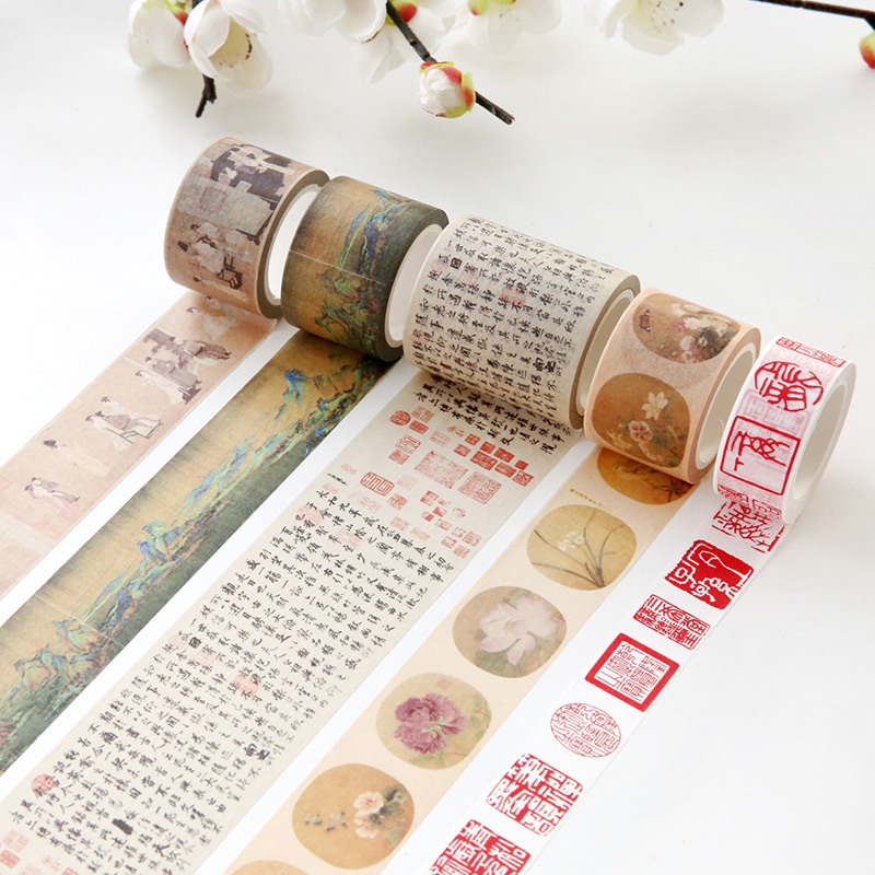Creative Classical Poetry Seal Painting Japanese Washi Tape Adhesive Decorative Tape Diy Scrapbooking Masking Tape Stationery 2 receivers 60 buzzers wireless restaurant buzzer caller table call calling button waiter pager system