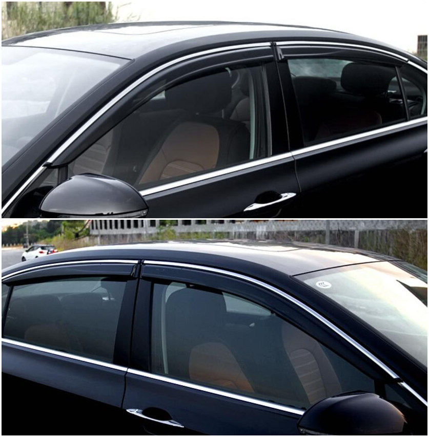 4pcs/set Smoke Sun Rain Visor Vent Window Deflector Shield Guard Shade For VW Volkswagen Passat B8 2015 2016 2017 4pcs set smoke sun rain visor vent window deflector shield guard shade for cadillac xt5 2016 2017