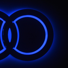 18.2×5.8 cm 18×5.85 18.5×5.85 Car led rim light Emblem Front rear badge red/blue/white for Audi Q3 Q5 A1 A3 TT