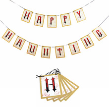 Spooky Fun Halloween Banner HAPPY HAUNTING Photo Prop Trick or Treat Party Mantle Decor