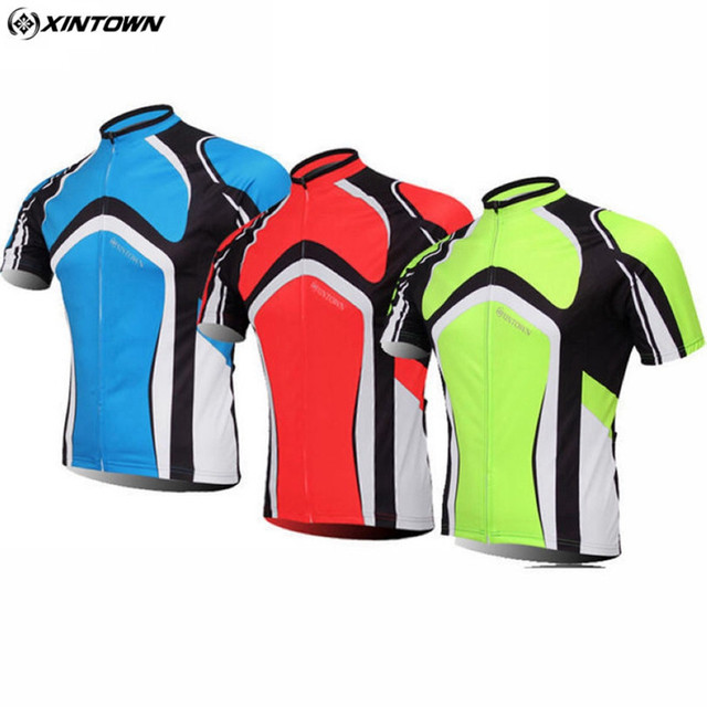 XINTOWN Cycling Jersey Top Bicycle Short Sleeve Clothing Bike Outdoor Sport  Wear Cycling Jacket Top Green Red Blue fd8938583