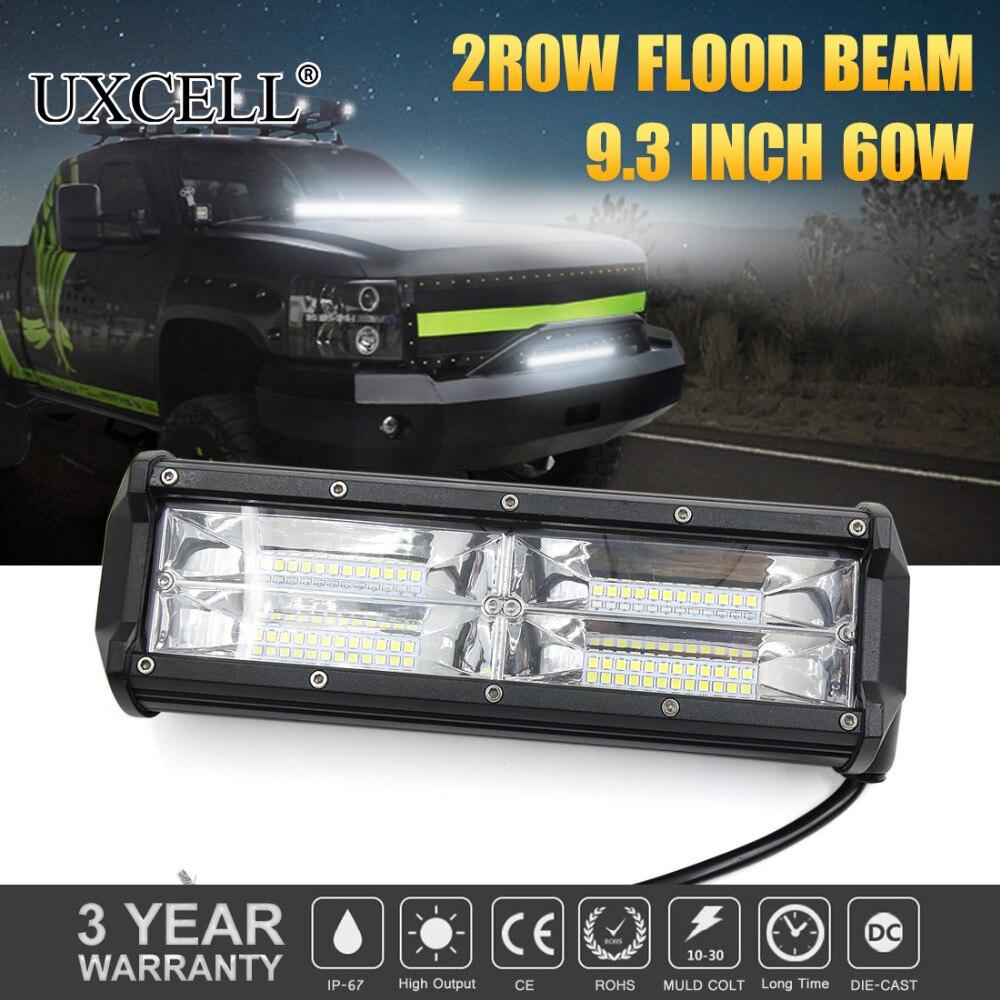 UXCELL 10V-30V 9 60W 48SMD 3600LM White 6000-6500K IP67 Waterproof LED Work Light Bar Flood Off Road SUV Boat 4X4 Working Lamp
