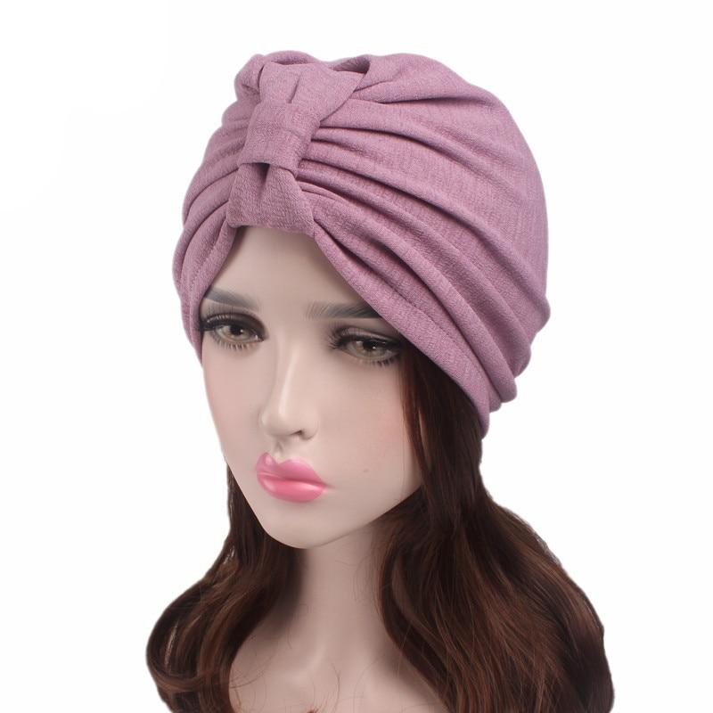 Muslim Women Ruffle Bowknot Cotton Turban Hat Scarf Bandanas Cancer Chemo Beanies   Headwear   Head Wrap Cap Hair Loss Accessories
