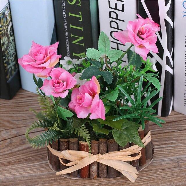 Online Shop Artificial Silk Rose Flowers Bonsaitree Branch Vase