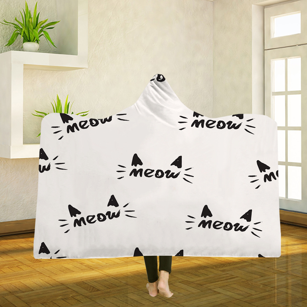 Yoga mat Hooded Blanket Cloak Magic Hat Blanket Thick Double layer Plush 3D Digital Printing Cat Series in Blankets from Home Garden