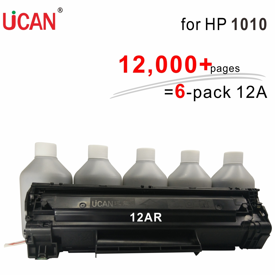 UCAN CTSC(kit)  Q2612a Cartridge for Hp LaserJet 1010 printer 12,000 pages equal to 6-Pack original 12a Toner Cartridges cf283a 83a toner cartridge for hp laesrjet mfp m225 m127fn m125 m127 m201 m202 m226 printer 12 000pages more prints