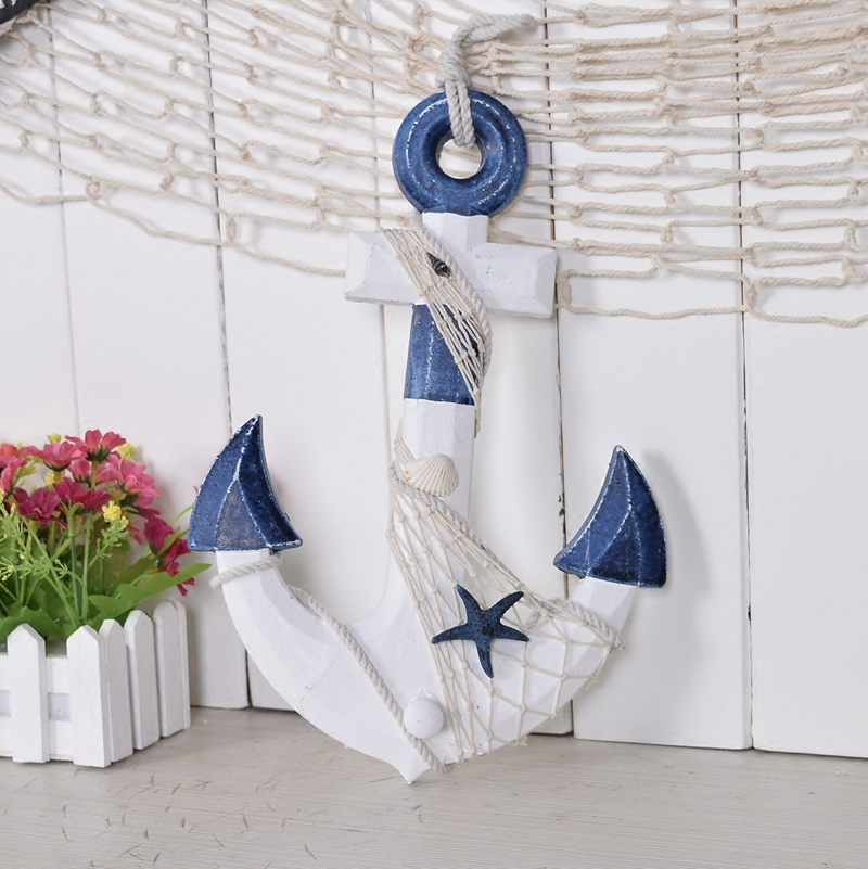 Wooden wall decor nautical style vintage wall hanging boat for Anchor decoration for the home