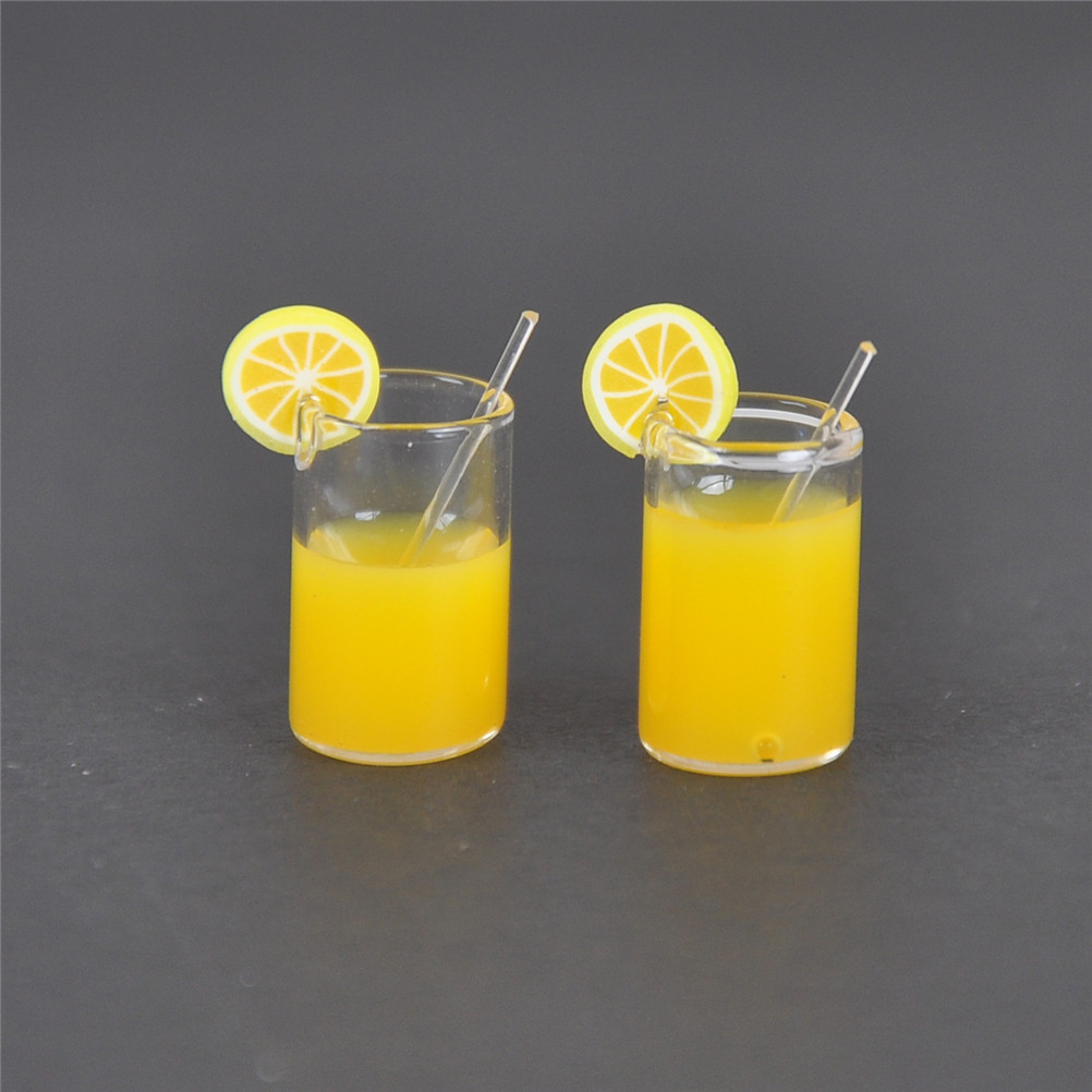 2pcs/lot Mini Resin Lemon Water Cup Mini Decoration Gifts 1:12 Dollhouse Miniature Dollhouse Accessories Cups Toy