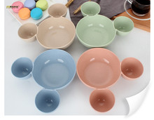 1PC Cute Wheat Straw Kids Kitchen Bowl Eco-Friendly Healthy Meal Plate Sub-grid Fruit Food Dish Tableware OK 0562