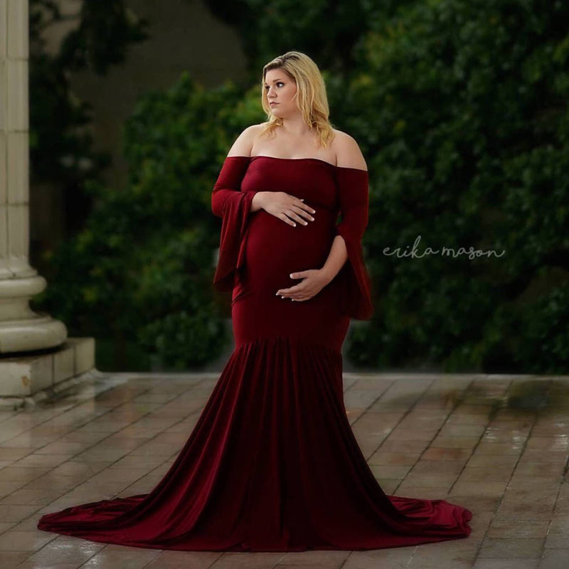 2018 mode maternité robe Photo Shoot Maxi maternité vêtements en mousseline de soie robe Sexy maternité photographie accessoires grossesse robe