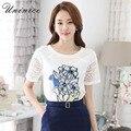 2017 Estilo Coreano Mulheres Tops e T-shirt O-pescoço Curto Oco Flor de manga Impressão Chiffon Solta T-shirt Femmes Camisa Das Mulheres T topos