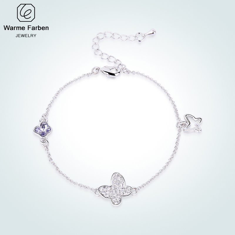 Warme Farben Crystal From Swarovski Bracelets For Women Erfly Sliver Color Link Bracelet Fine Jewelry Gift Lady